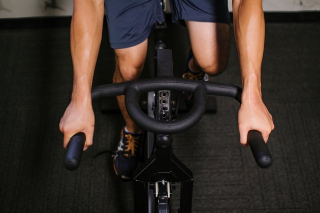man on spin bike