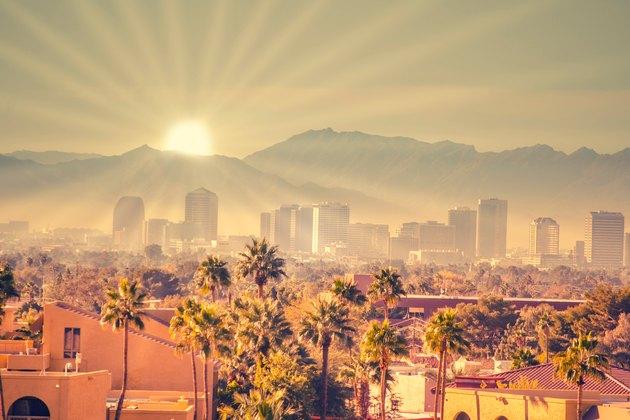 Morning sun rays over Phoenix, Arizona