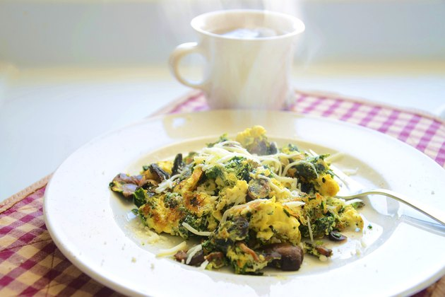 This is a tasty and filling scramble using the 3:1 ratio - three egg whites to one entire egg.