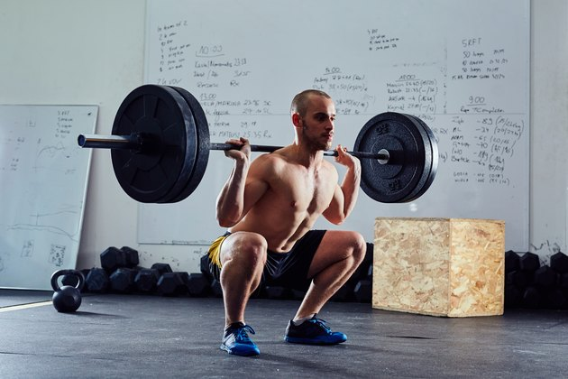 man doing barbell back squat