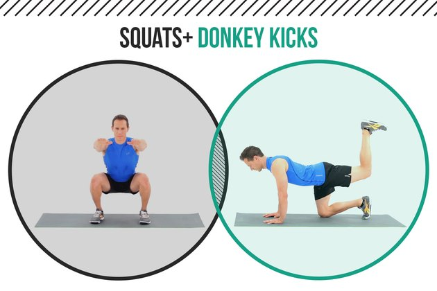 Man demonstrating how to do squats and donkey kicks as a superset