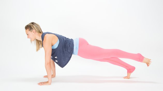 Elise Joan demonstrating the Classic Plank + Leg Lift