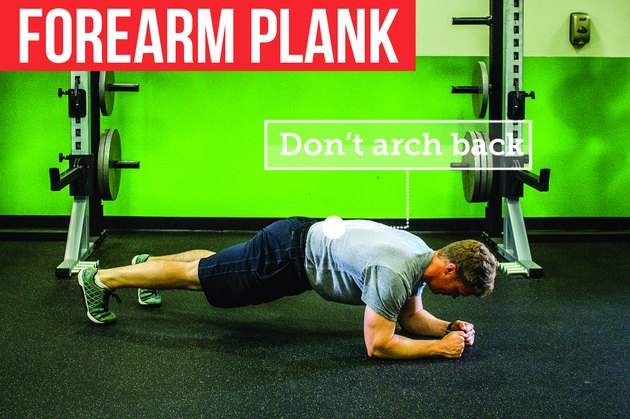 Man doing forearm plank with proper form to prevent back pain