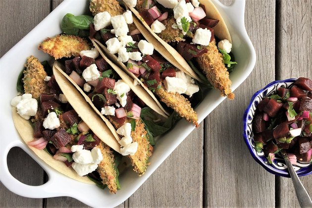 Avocado Tacos With Spicy Beet Pico de Gallo
