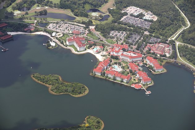 Arial view of  Walt Disney World's Grand Floridian resort hotel