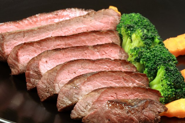 Cooked London broil steak with broccoli