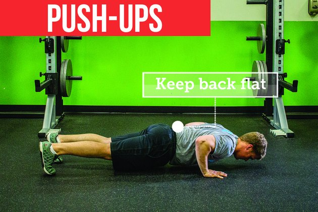 Man doing push-ups with proper form to prevent back pain