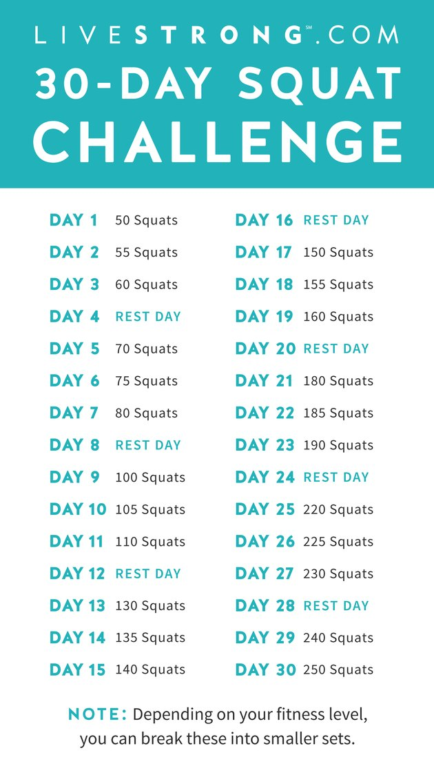 Epic image with 30 day squat challenge printable