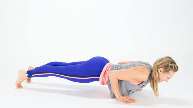 Elise Joan demonstrates the Center Chaturanga