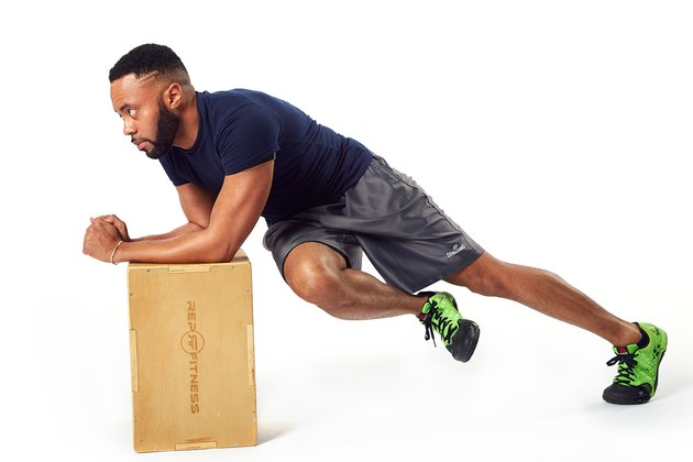man doing a plank twist on a box