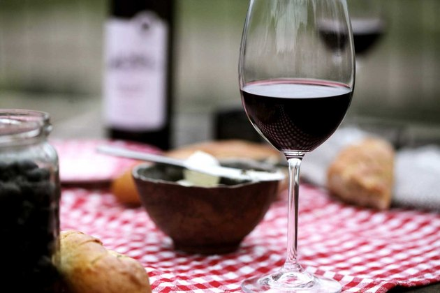 Glass of red wine with dinner.