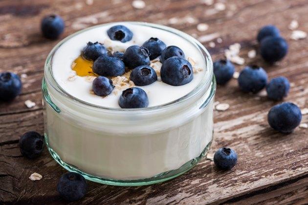 Yogurt with blueberries and honey