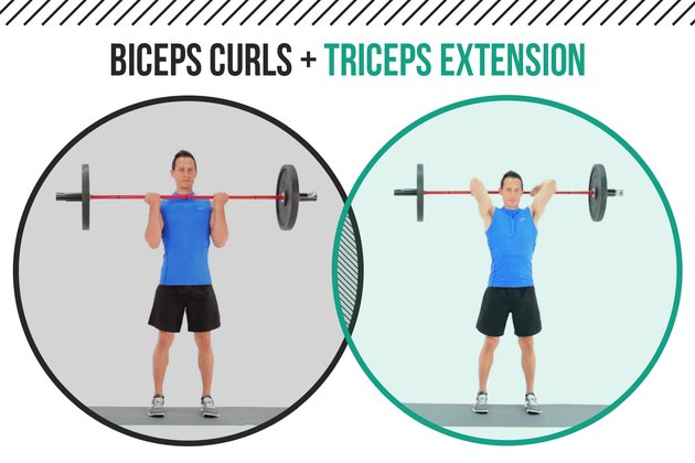 Man demonstrating how to do a barbell biceps curl and triceps extension as a superset