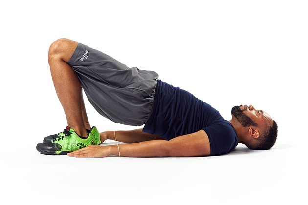man doing a glute bridge