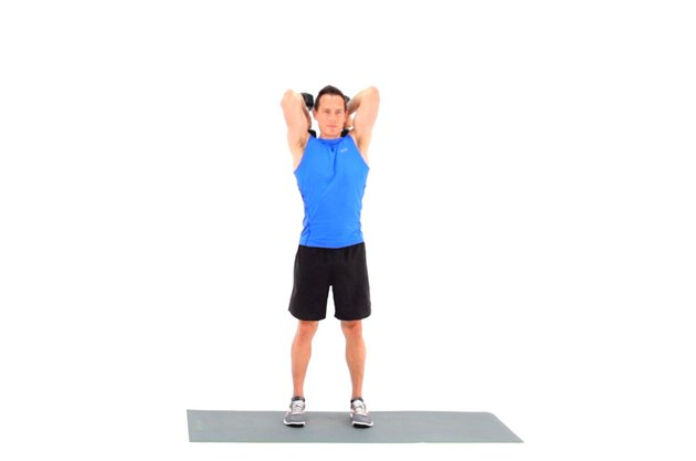 Proper form for a standing overhead dumbbell triceps extension.