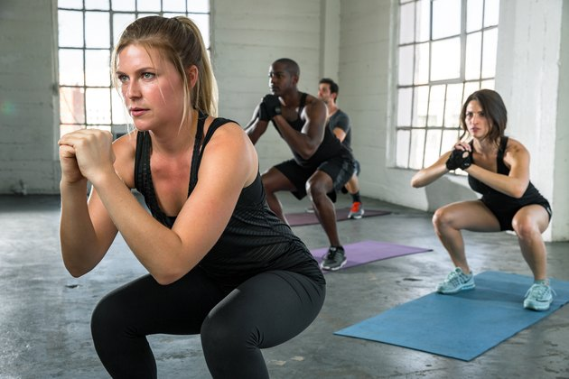 woman leading fitness class