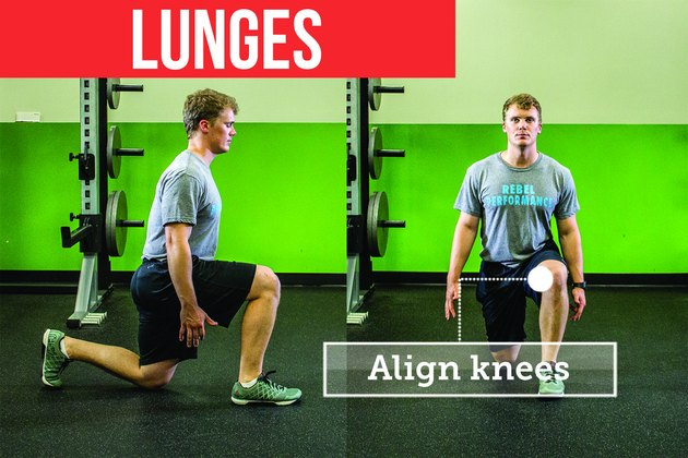 Man doing walking lunges with proper form to prevent back pain