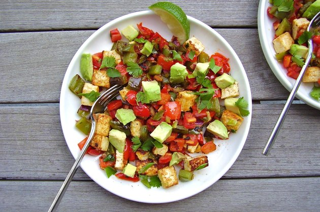 Tofu, tomato and vegetable hash.