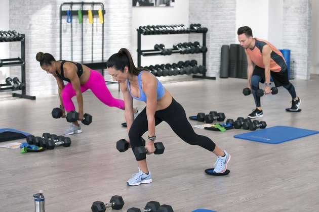 Autumn Calabrese does lunges with dumbbells