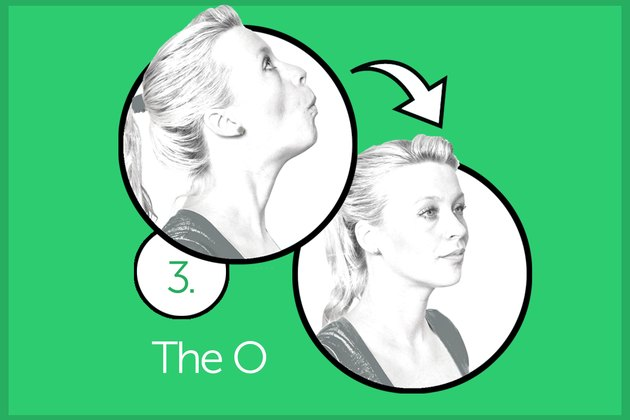 Woman performing the O exercise.
