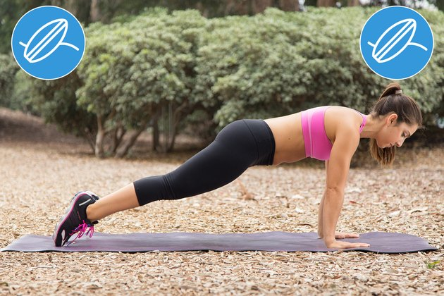 Woman Doing Pointed-Toes Plank to Prevent Injury