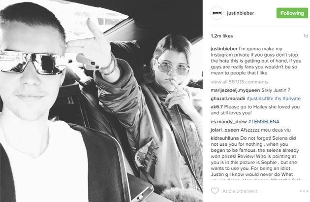 Justin Bieber and Sofia Richie in a car.