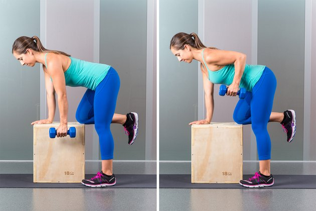 Woman performing one-armed dumbell row.