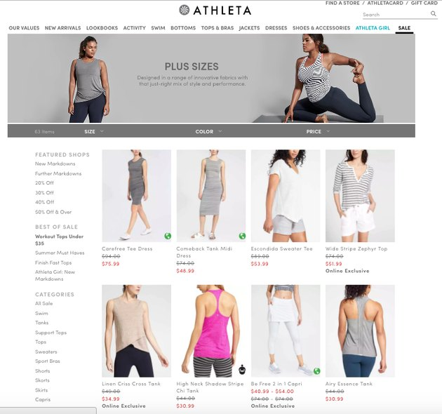 screenshot from Athleta website