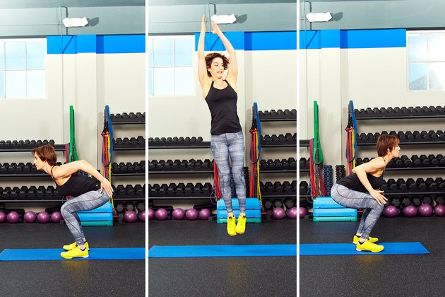 Woman demonstrating how to do squat jumps with 180-degree rotations