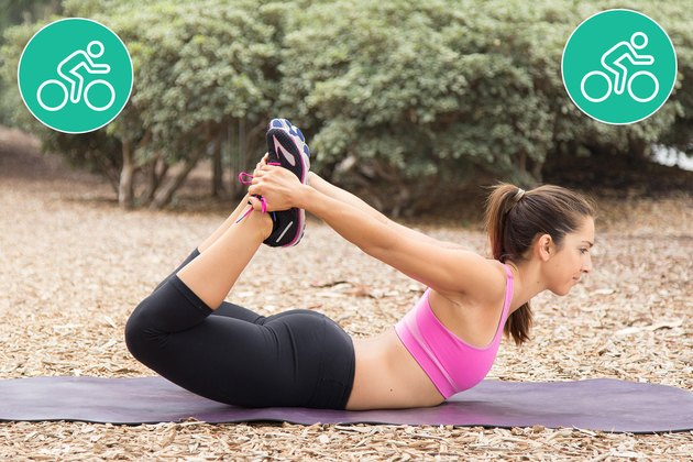 Woman Doing Bow Pose to Prevent Injury