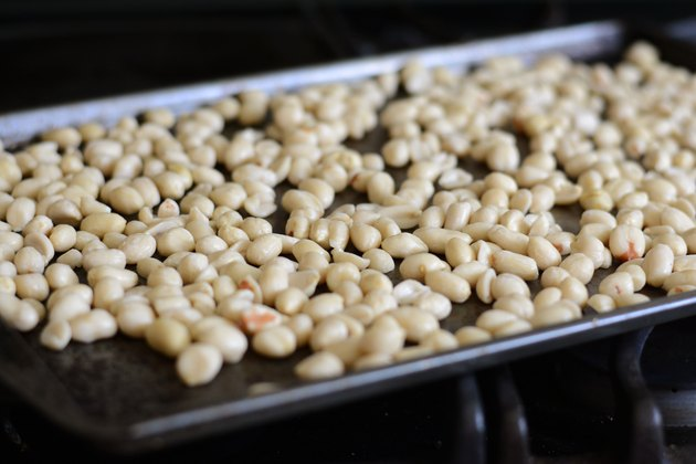 Peanuts roasting in oven