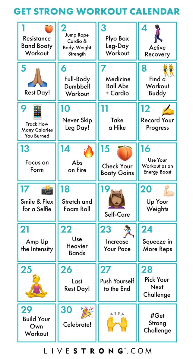 Get Strong in 2019 Challenge printable workout calendar