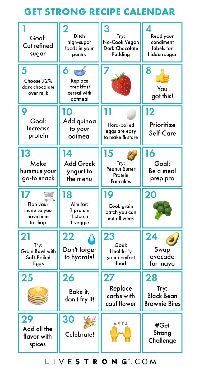 Get Strong in 2019 Challenge printable recipe calendar