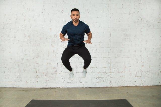 Mike Donavanik demonstrates a tuck jump burpee