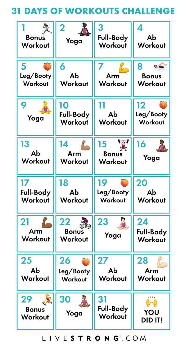 Printable calendar for the 31 Days of Workouts Challenge