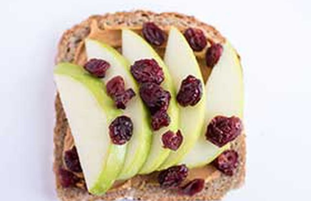 Harvest Toast With Peanut Butter, Apples and Cranberries