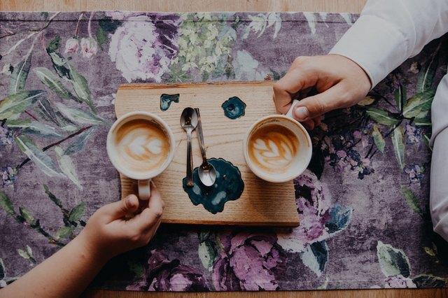 couple enjoying coffee on a date