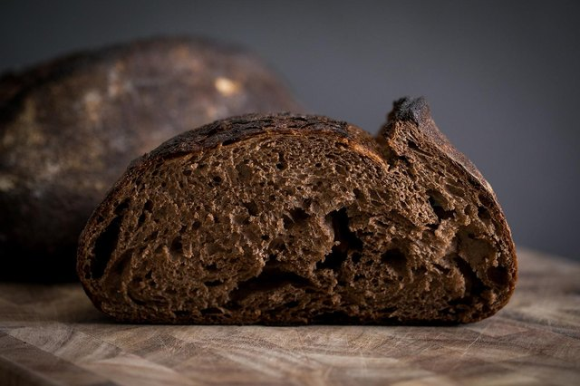 Closeup shot of a slice of dark bread