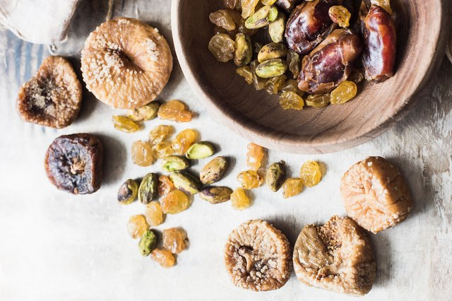Dried figs, dates and raisins