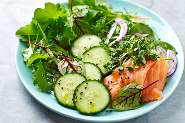 Salmon Salad with cucumbers and greens