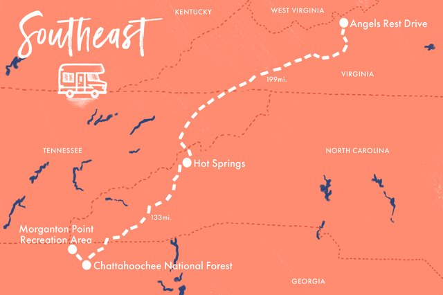 Map of Southeast road trip