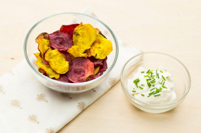 Baked beet chips with yogurt dip