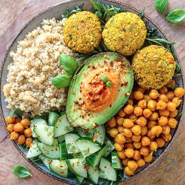 Plant-based chickpea patties and avocado in a bowl
