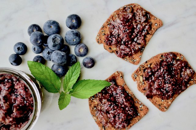 Blueberry Chia Jam on a marble tabletop