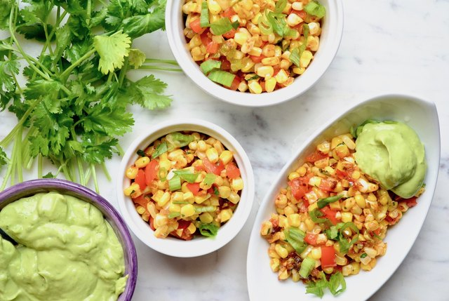 Mexican Street Corn With Avocado Dressing