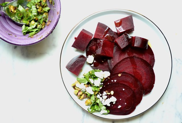 Slow-Roasted Beets With Basil Pistachio Pesto