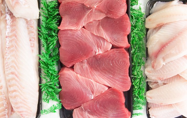 Raw fish in a display case