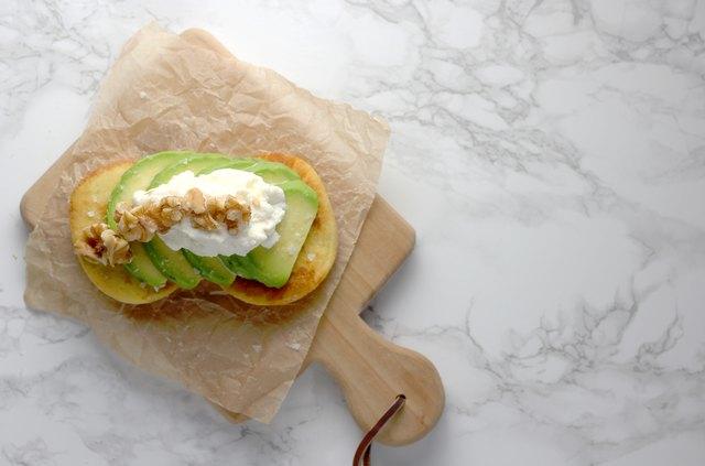 Walnut ricotta avocado toast on almond bread