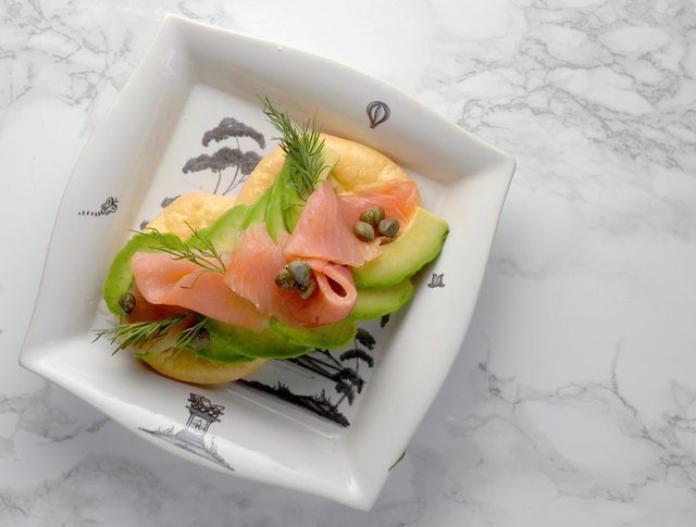 Salmon and dill avocado toast on cloud bread