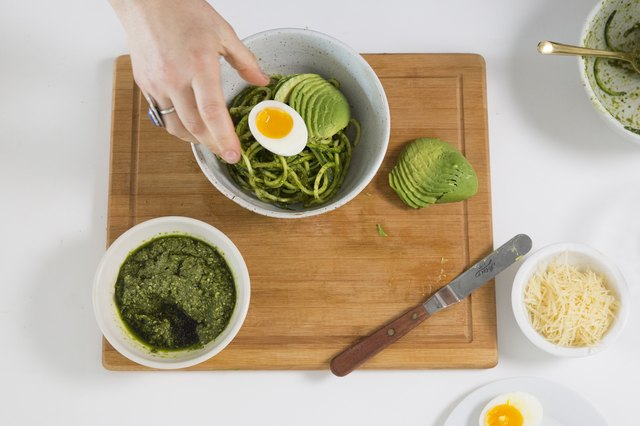 pesto zucchini noodles with soft-boiled egg